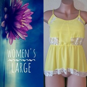 Women's Size Large Yellow Babydoll Blouse